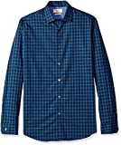Original Penguin Men's Slim Fit Spread Collar Fashion Dress Shirt, Midnight Plaid, 16.5 32/33