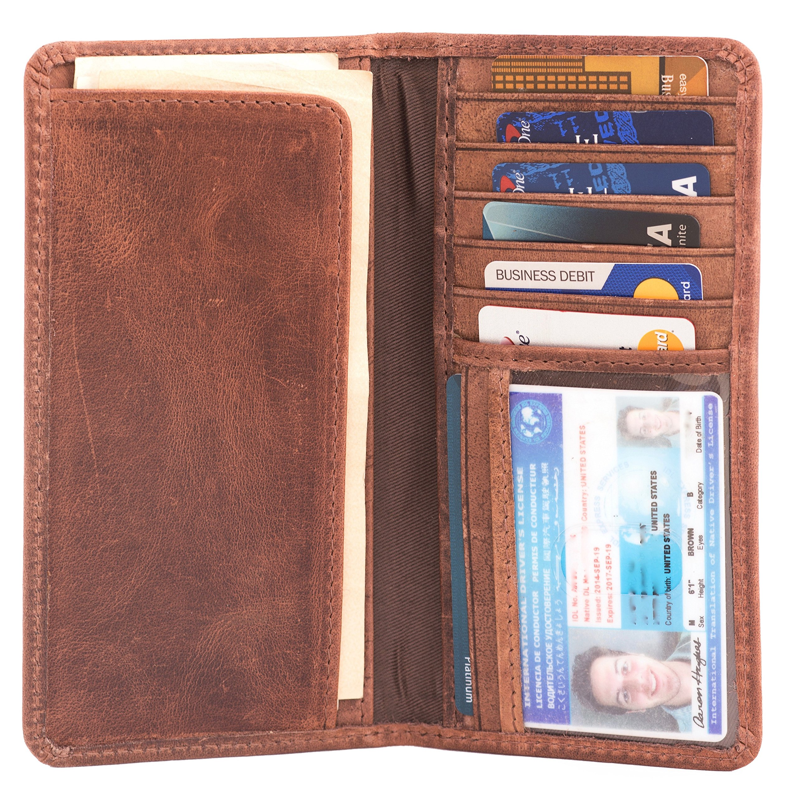 RAWHYD Full Grain Leather Long Bifold Wallet (Hunter Brown)
