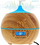 ArtNaturals Essential Oil Diffuser and Humidifier with Bluetooth Speaker Clock and Alarm - Electric Cool Mist Aromatherapy for Office/Home/Bedroom/Baby Room 7 Color LED Lights, 400 mL