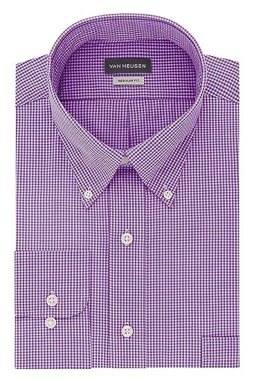 ed19256a457ced Van Heusen Men's Regular Fit Gingham Button Down Collar Dress Shirt,  Amethyst, XXX-