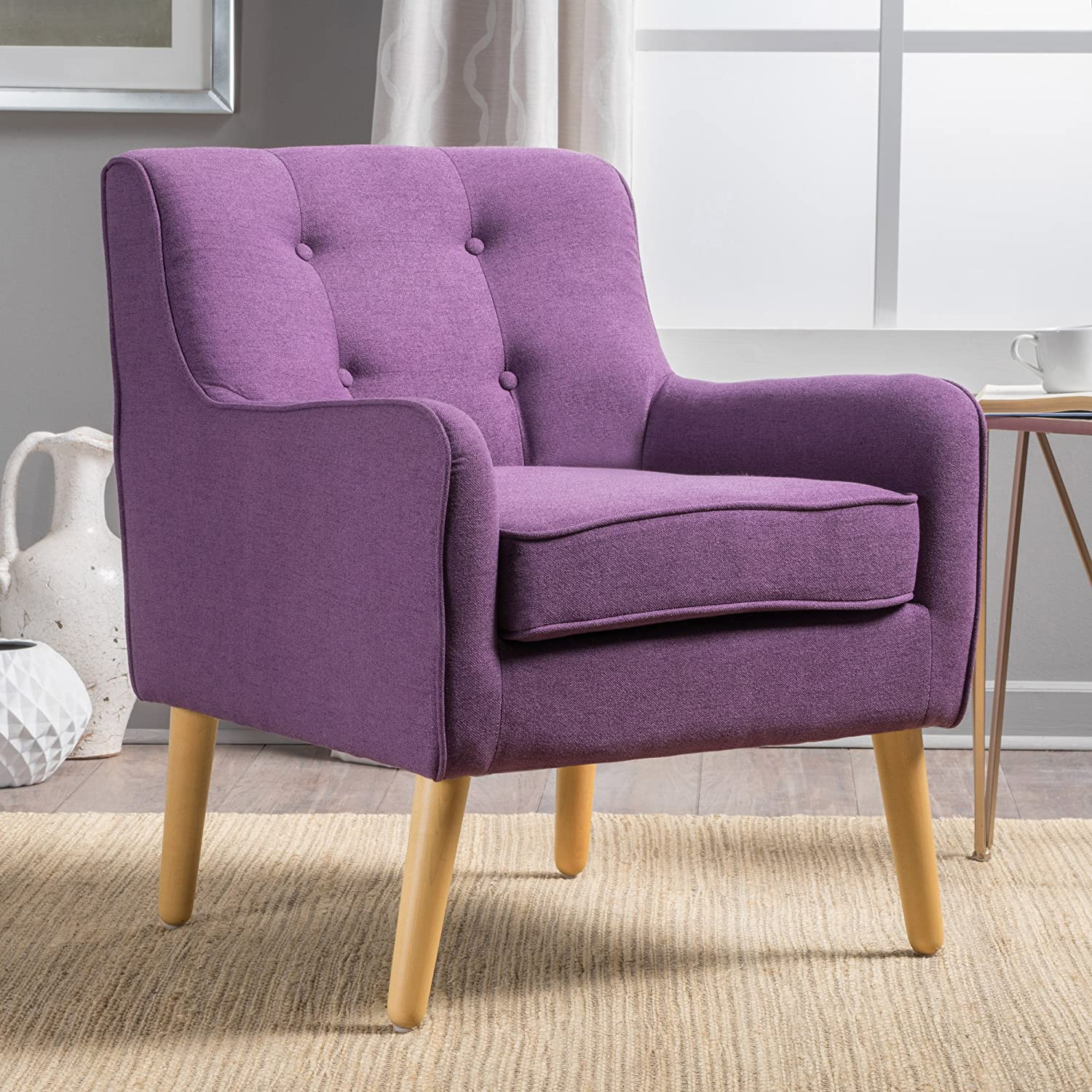 Purple Christopher Knight Home 300568 Felicity Mid-Century Button Tufted Fabric Arm Chair, Wasabi