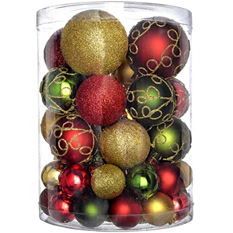Red And Gold Christmas Tree.Werchristmas 50 Piece Shatterproof Deluxe Christmas Tree Baubles Decoration Pack Red Gold Green Multi Colour