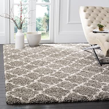 Safavieh Hudson Shag Collection SGH282B Grey and Ivory Moroccan Geometric Quatrefoil Area Rug (6' x 9')