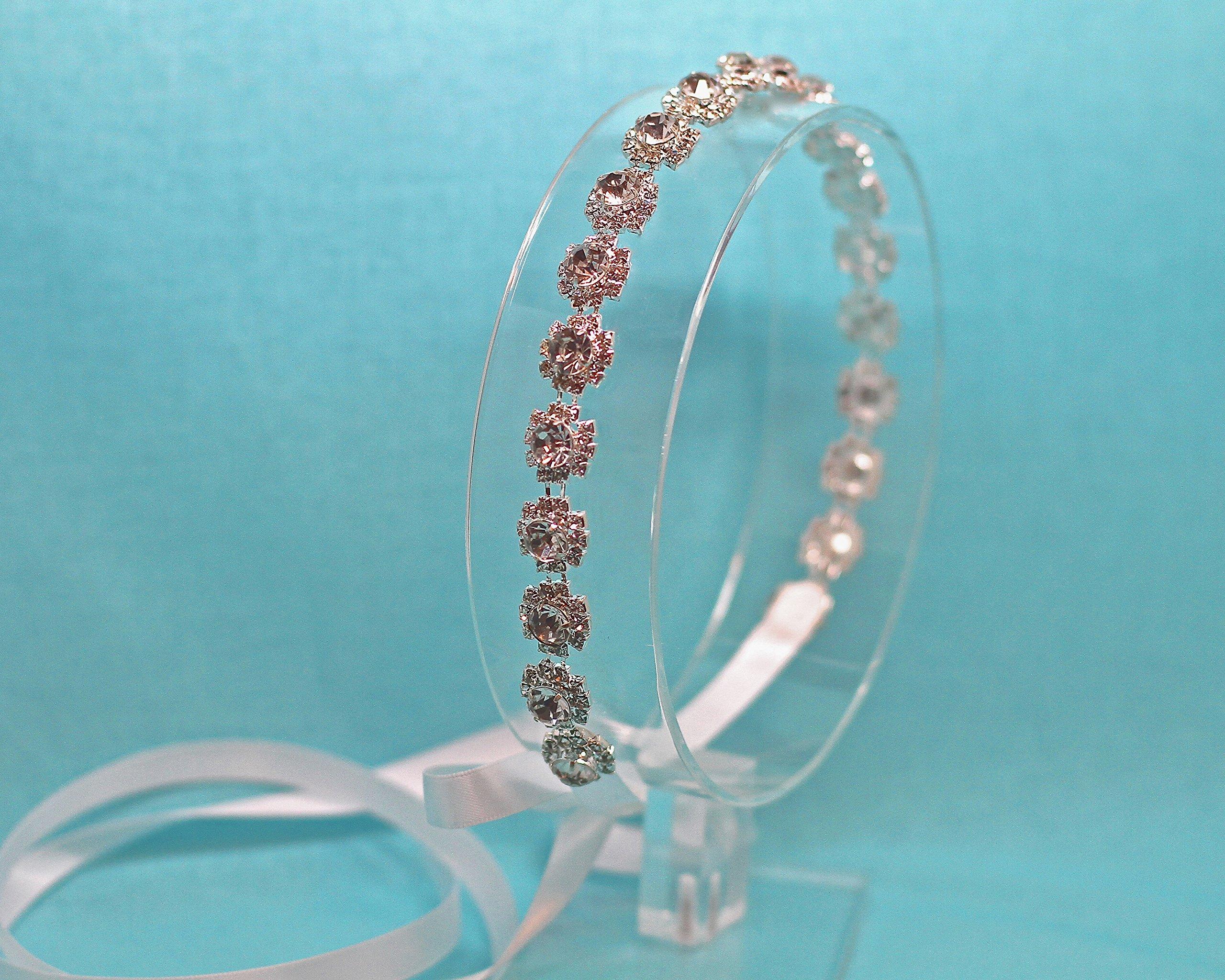 Belle Fleur Silver Tone Ribbon Tie Back Wedding Headband
