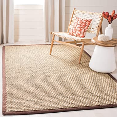 Safavieh Natural Fiber Collection NF114K Basketweave Natural and Dark Brown Summer Seagrass Area Rug (5' x 8')