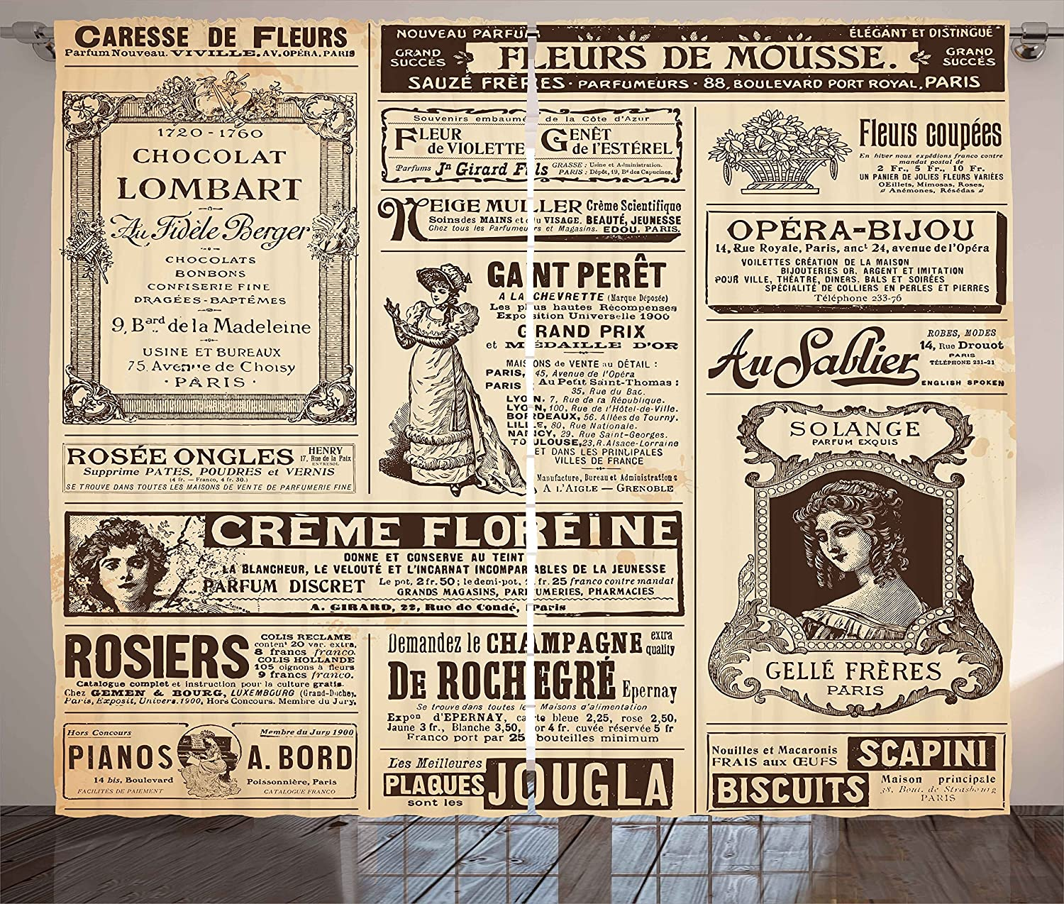 Ambesonne Paris Curtains, Vintage Old Historic Newspaper Journal French  Paper Lettering Art Design, Living Room Bedroom Window Drapes 2 Panel Set,