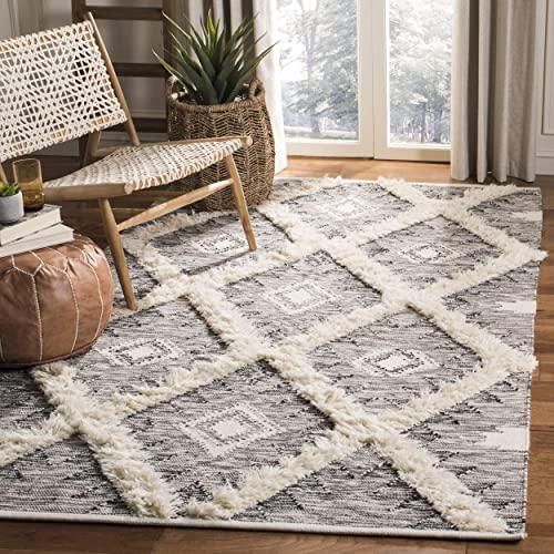 Safavieh KNY455Z-8 Kenya Collection KNY455Z Hand Knotted Black and Ivory Premium Wool Area 8' x 10' Rug