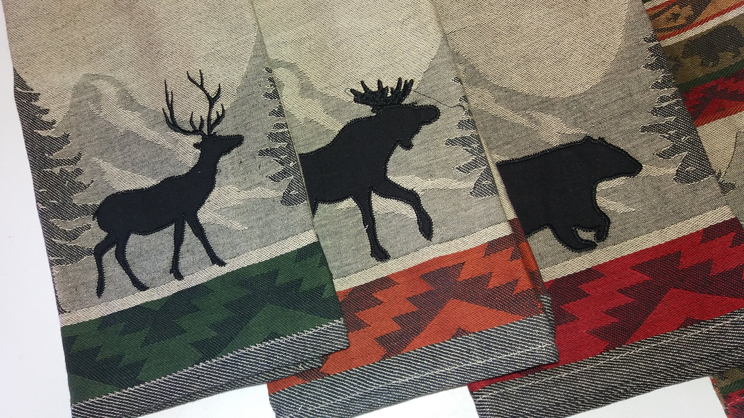 Design Imports 5-Piece Woodsy Jacquard Dishtowel Bundle, 3 Bear, Moose and Deer Appliques and 2 Back Country Stripe Jacquard Towels with Woodland Scenes