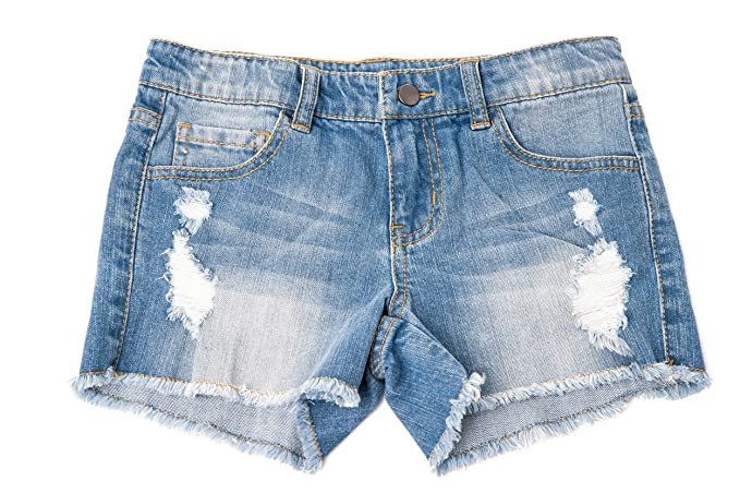 f97b8d08 Khanomak Kids Girls Denim Distress Ripped Shorts (Medium Wash_3-4Yrs ...