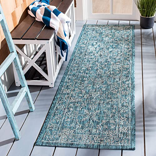 Safavieh Courtyard Collection CY8680-37221 Indoor Outdoor Runner, 2 3 x 8 , Turquoise