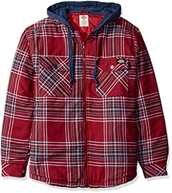 02d7569ae83 Dickies Men s Quilted Flannel Overshirt with Fleece Hood Tall at Amazon Men s  Clothing store