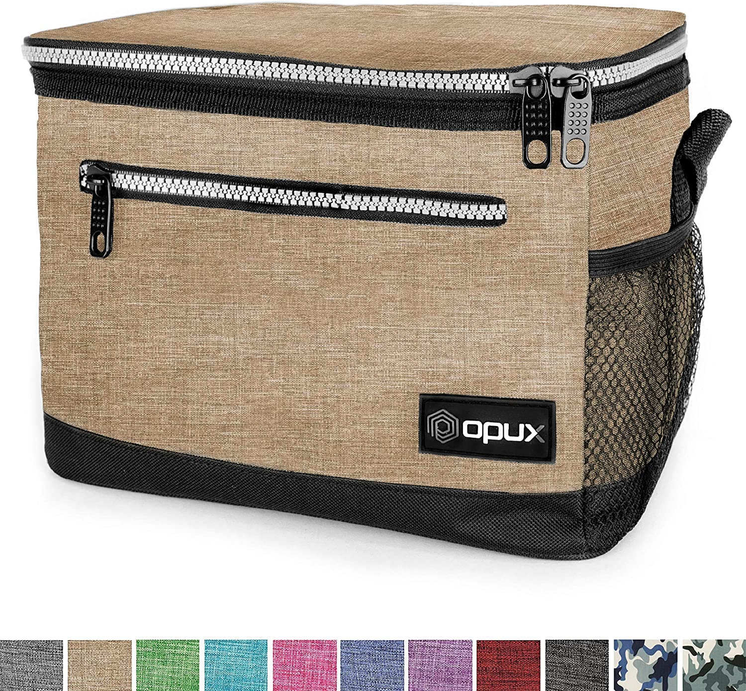 OPUX Premium Lunch Box, Insulated Lunch Bag for Men Women Adult | Durable School Lunch Pail for Boys, Girls, Kids | Soft Leakproof Medium Lunch Cooler Tote for Work Office | Fits 8 Cans (H Taupe)