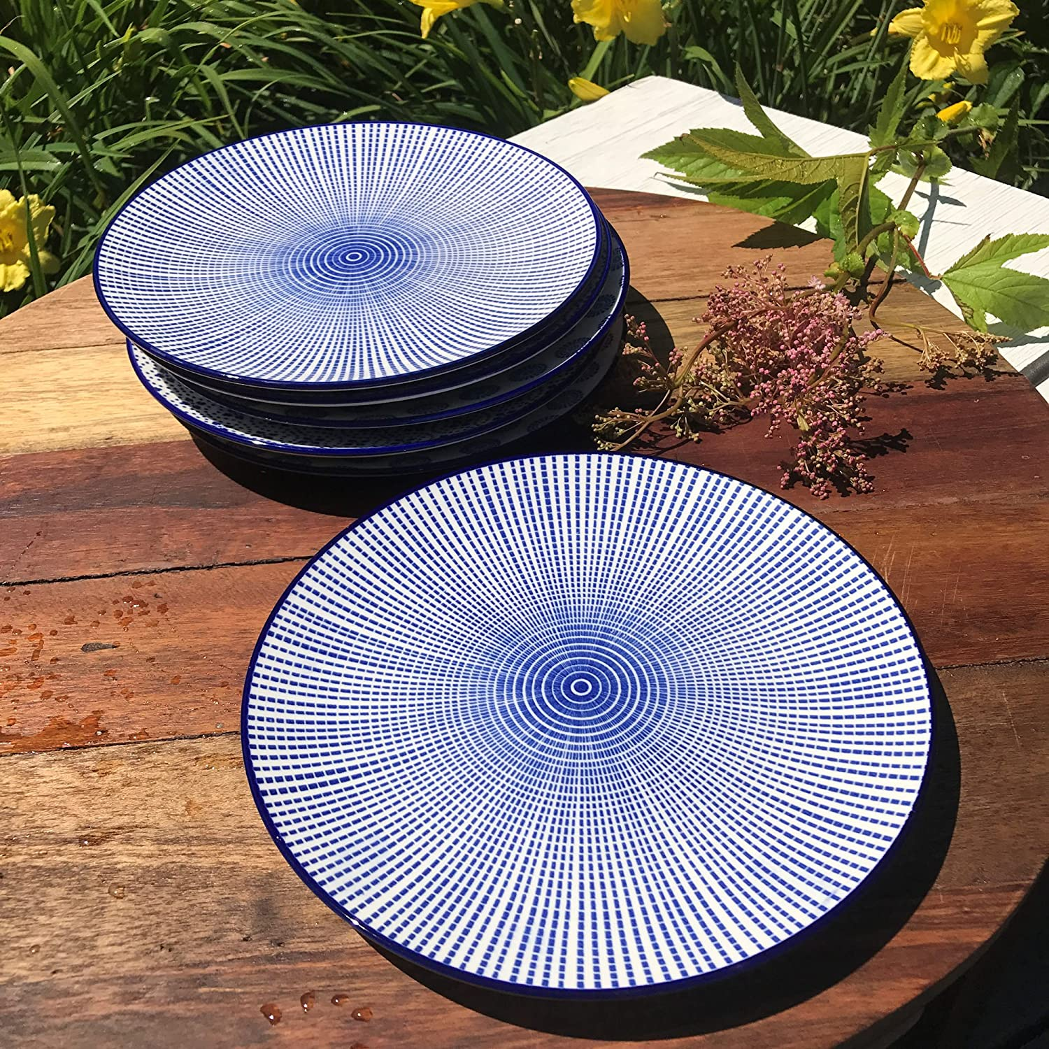 Stoneware 2 Trellis 8 3//4 Inches Diameter WHW Whole House Worlds Summertime Blue and White Dishes Set of 6 2 Rounds and 2 Stripes Dishwasher Safe
