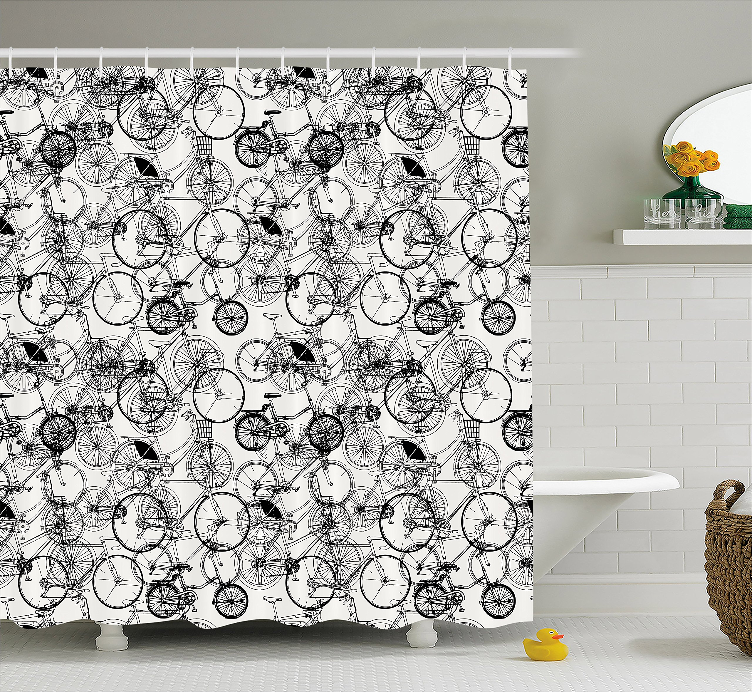 Ambesonne Sketchy Shower Curtain, Vintage Retro Bicycle Bike Hand Drawn Vector Abstract Design Image Artwork, Fabric Bathroom Decor Set with Hooks, 84 Inches Extra Long, Black and White