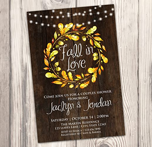 fall in love couples shower invitation autumn bridal shower invite wedding rehearsal 4x6