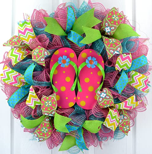 58853b76d Amazon.com  Pink Summer spring flip flop welcome deco mesh wreath ...