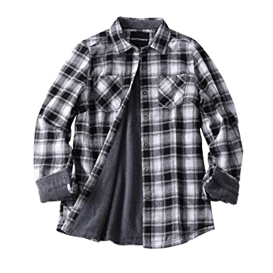 d53346baa ZENTHACE Women's Thermal Fleece Lined Plaid Button Down Flannel Shirt  Jacket Gray/White S