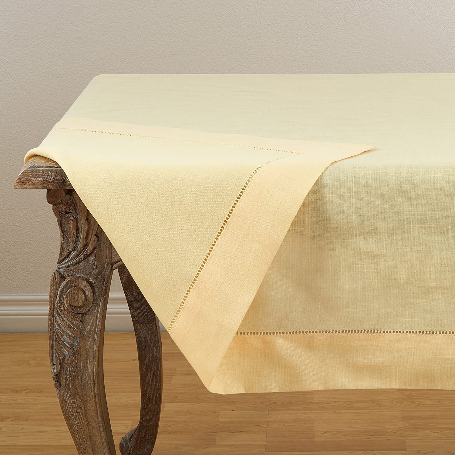 SARO LIFESTYLE 6306.NB84S Rochester Collection Tablecloth with Hemstitched Border 84' Navy Blue