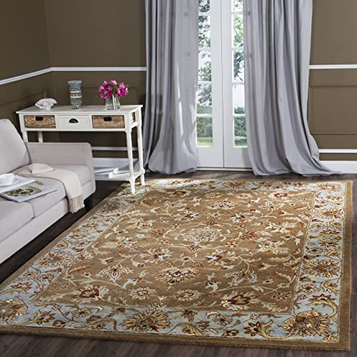 Safavieh Heritage Collection HG821A Handcrafted Traditional Oriental Beige and Blue Wool Area Rug 7'6″ x 9'6″