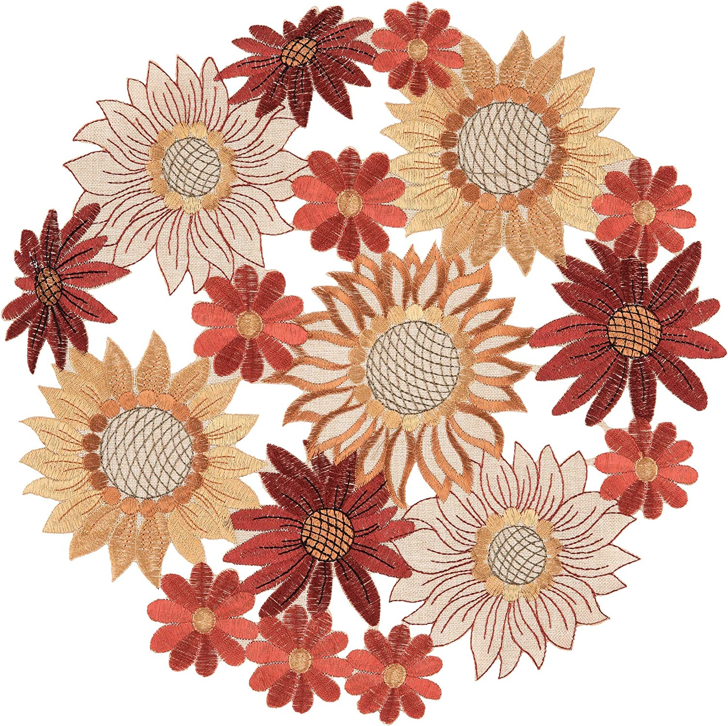 Amazon Com C F Home Harvest Bloom Round Single Placemat Polyester Autumn Fall Table Mat For Kitchen Dining Table Round Placemat Orange Home Kitchen