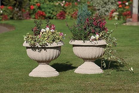 Garden urns x 2 vasi per piante in poliuretano effetto pietra per