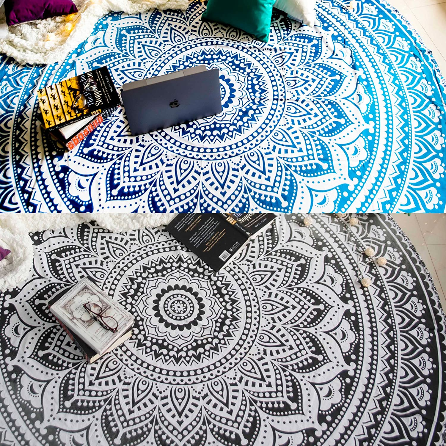 US Round Bohemian Mandala Tapestry Wall Hanging Towel Beach Yoga Mat Hiking Mats