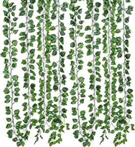 12 Pack Silk Artificial Vines Leaf Garland Plants Hanging Wedding Garland Fake Foliage Flowers Home Kitchen Garden Office Wedding Wall Decor