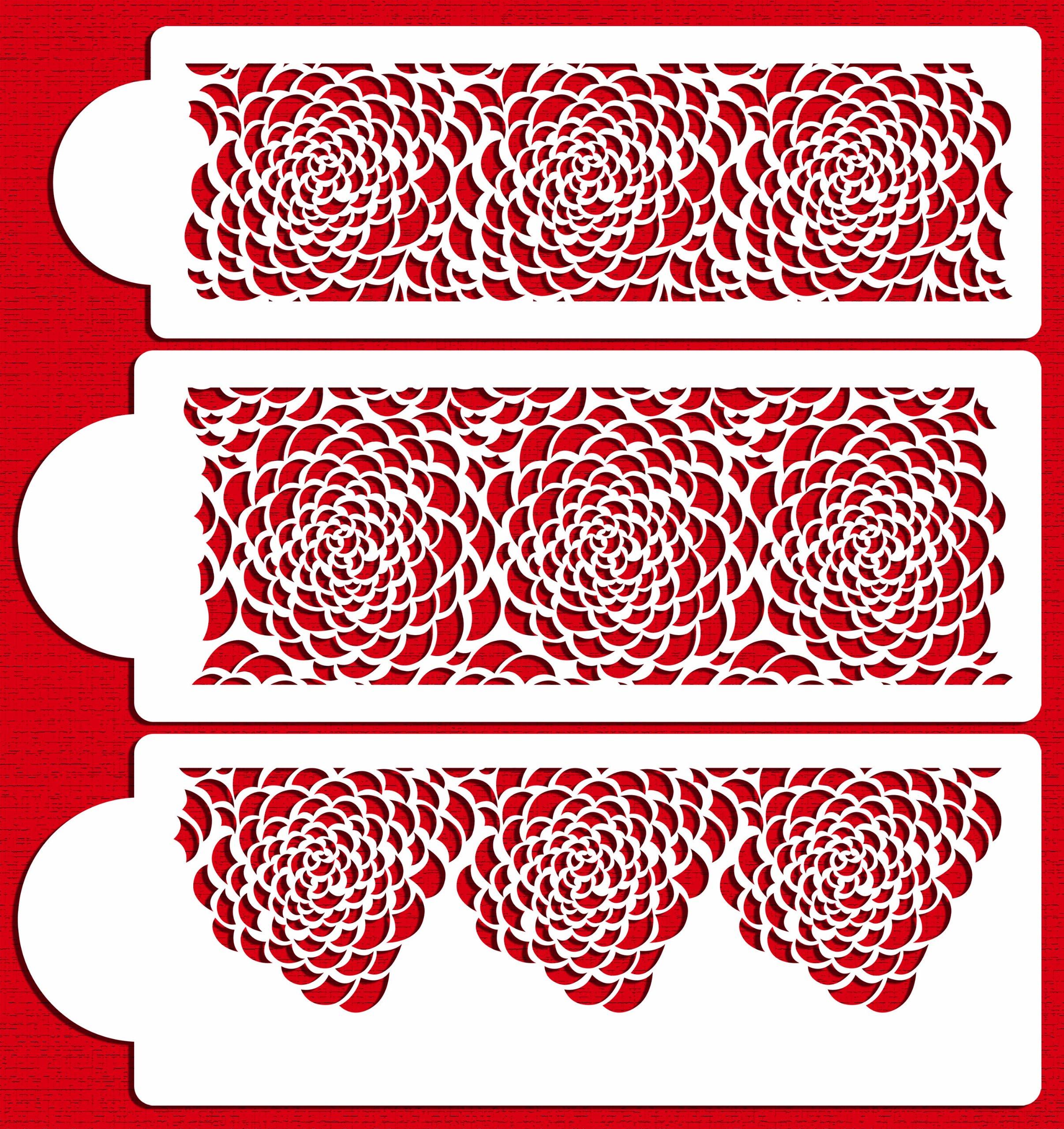 Designer Stencils C410 Camilla Rose 3-tier Set Cake Stencils, Beige/semi-transparent by Designer Stencils