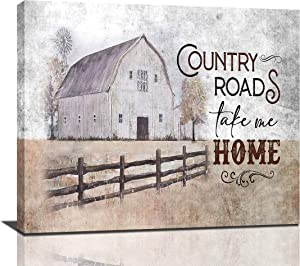 Farmhouse Rustic Wall Decor Hand Painted Barn Canvas Wall Art Painting Pictures Country Roads Take Me Home Artwork For Bedroom Bathroom, 24x20 Inch