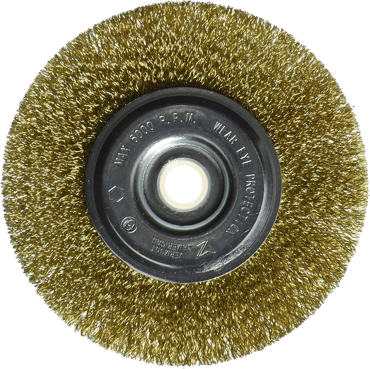 Vermont American 16799 5-Inch Course Brass Wire Wheel Brush with 1//4-Inch Hex Shank for Drill