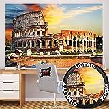 Colosseo FOTOMURALE – anfiteatro Colosseo quadro da parete – XXL poster Colosseo tramonto del sole decorazione da parete Roma by GREAT ART (210 x 140 cm)