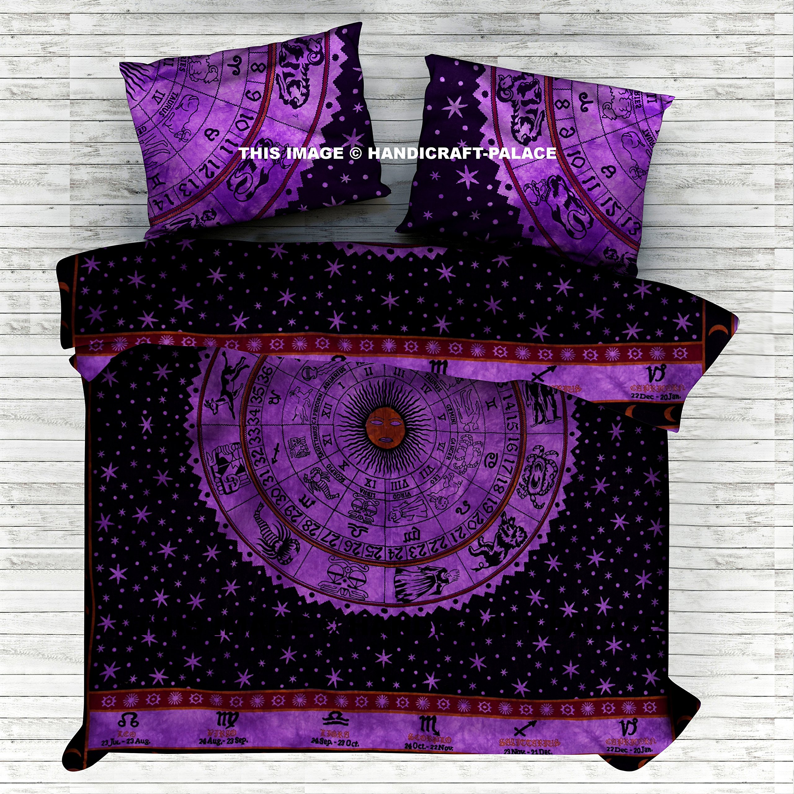 Indian Handmade Doona Cover Bohemian Cotton Duvet Cover, Astrology Mandala Comforter Cover, Quilt Cover, Donna Cover Set Boho Duvet Cover. Bohemian Bedspread By Handicraft-Palace