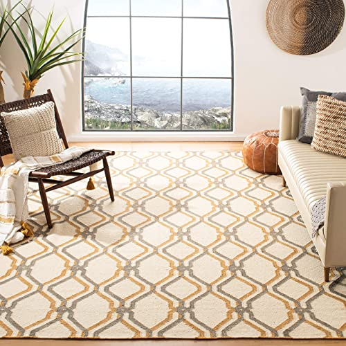 Safavieh Dhurries Collection DHU104A Hand Woven Ivory and Black Premium Wool Area Rug 8 x 10