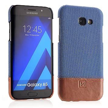 Funda MIQODO MiClip Cuero Genuino con tela para Samsung Galaxy A5 (2017), Funda