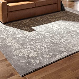 Rivet Charcoal Distressed Medallion Area Rug, 8 x 10 Foot