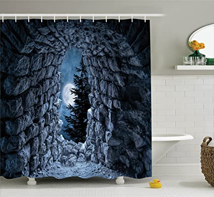 Attirant Ambesonne Gothic Decor Shower Curtain Set, Dark Cave With The Light Of Full  Moon At