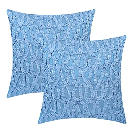 Amazon The White Petals Light Blue Throw Pillow Covers Ribbon Best Light Blue Throw Pillow Covers
