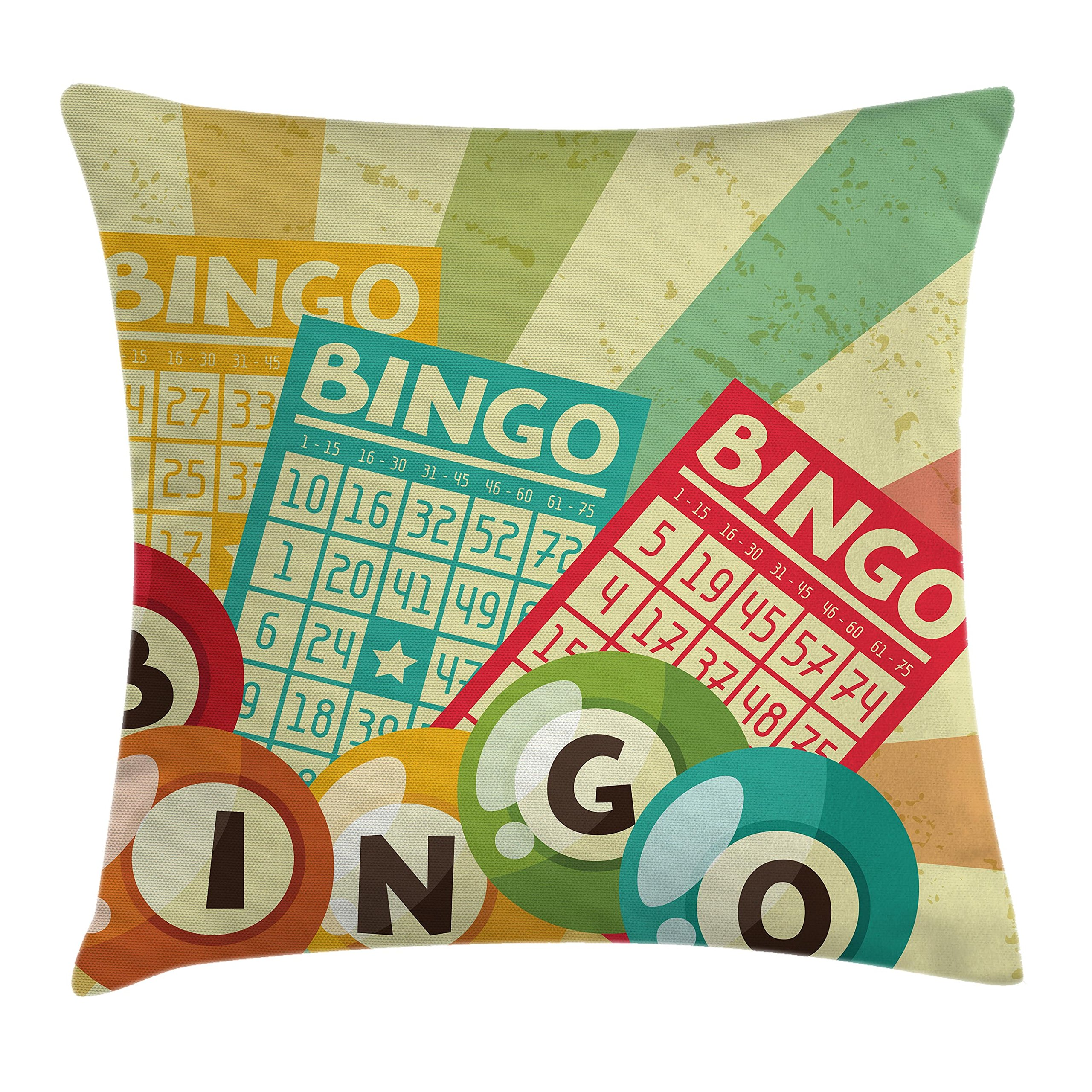 Ambesonne Vintage Decor Throw Pillow Cushion Cover, Bingo Game with Ball and Cards Pop Art Stylized Lottery Hobby Celebration Theme, Decorative Square Accent Pillow Case, 18 X 18 Inches, Multi