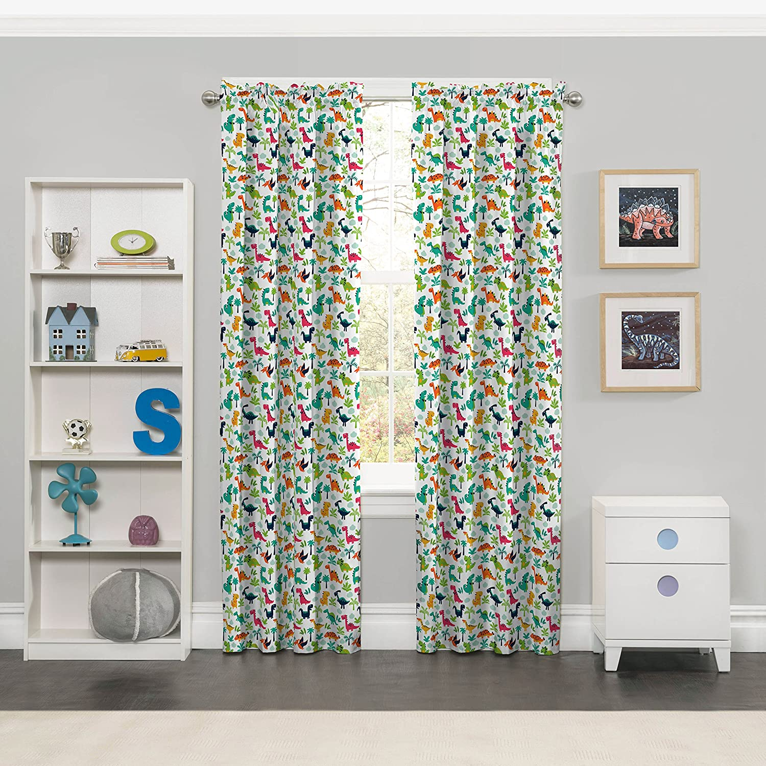 """Eclipse Dippy Dinos Thermal Insulated Single Panel Rod Pocket Room Darkening Privacy Curtains for Nursery, 42"""" x 84"""", Multicolor"""