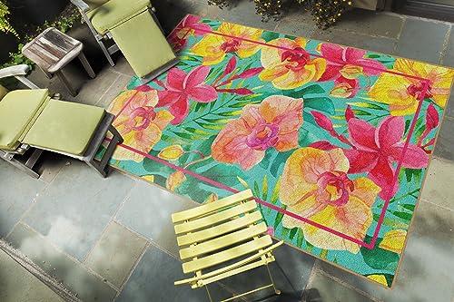 Brumlow Mills Tropical Flowers Pink Floral Area Rug, 5 x8
