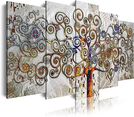 DekoArte 477 - Cuadros Modernos Impresión de Imagen Artística Digitalizada | Lienzo Decorativo para Salón o Dormitorio | Estilo Abstractos Árbol de la Vida de Gustav Klimt Plata | 5 Piezas 150x80cm: Amazon.es: Hogar
