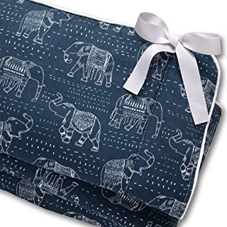 product image for Navy Tribal Elephants Crib Rail Cover