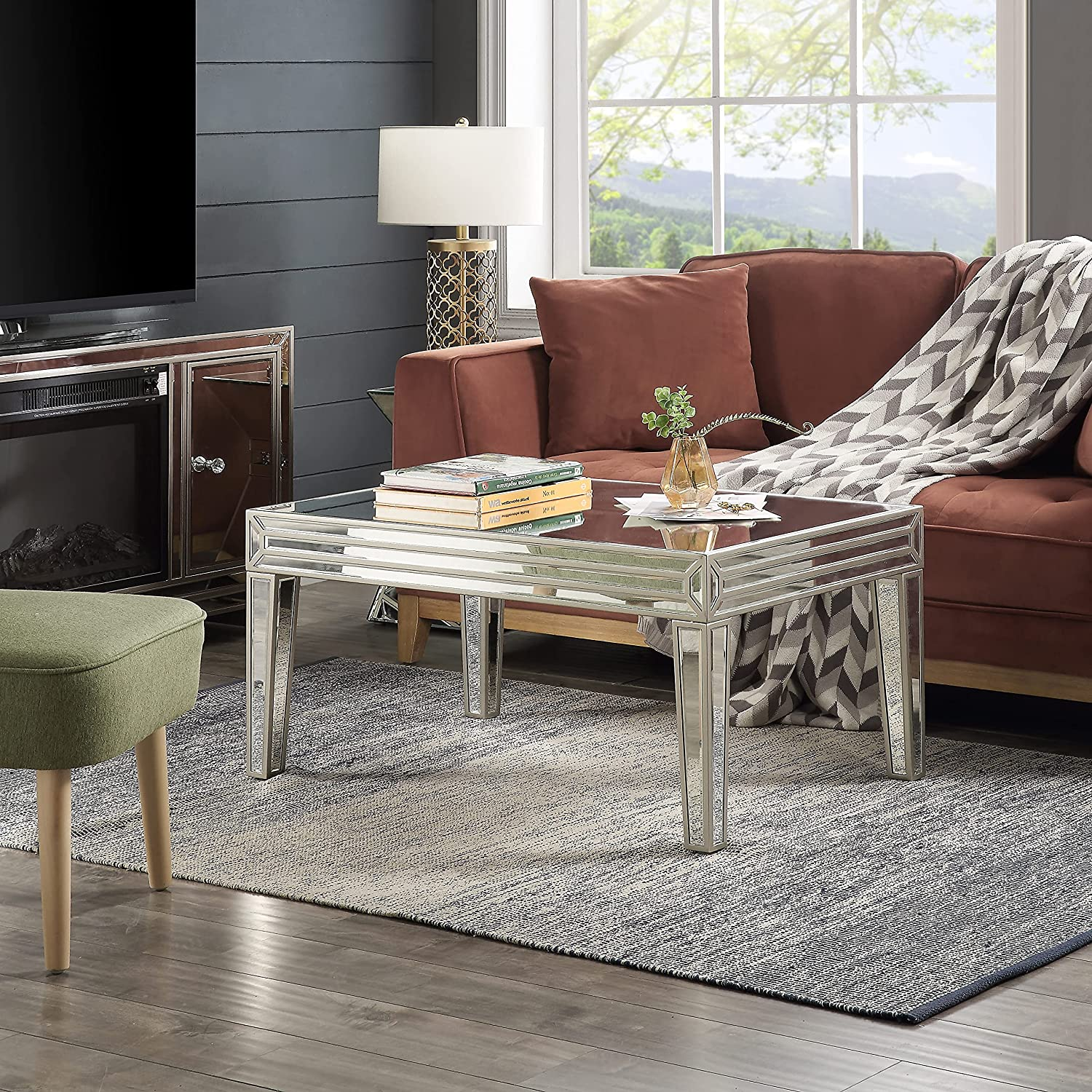 Mirrored Coffee Table, Golden Lines Coffee Table with Unique Desigin, Rectangle Silver Accent Table, Modern Design Luxury Contemporary Furniture, Partial Assembly for Living Room from Mireo Furniture