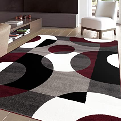 3u00273u0026quot;x5u0027ft Burgundy Grey White Black Gray Multi Colored Geometric  Circles