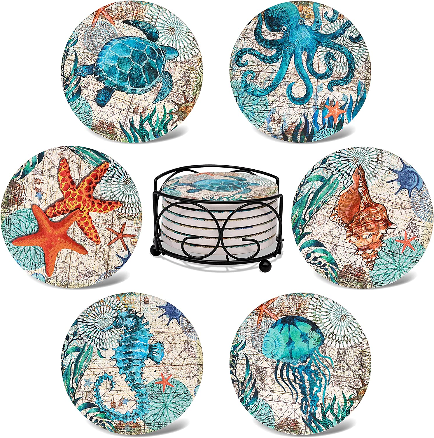 Skafil Coasters for Drinks Absorbent with Holder,Set of 6 Ceramic Drink Coasters Funny, Absorbent Stone Coaster Set Cork Base (6P-Sea)
