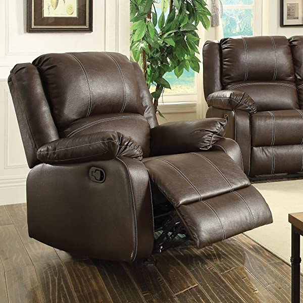 ACME Zuriel Brown Faux Leather Rocker Recliner