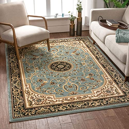 Well Woven Imperial Medallion Light Blue Oriental 8×10 7 10 x 9 10 Traditional Persian Floral Area Rug Carpet