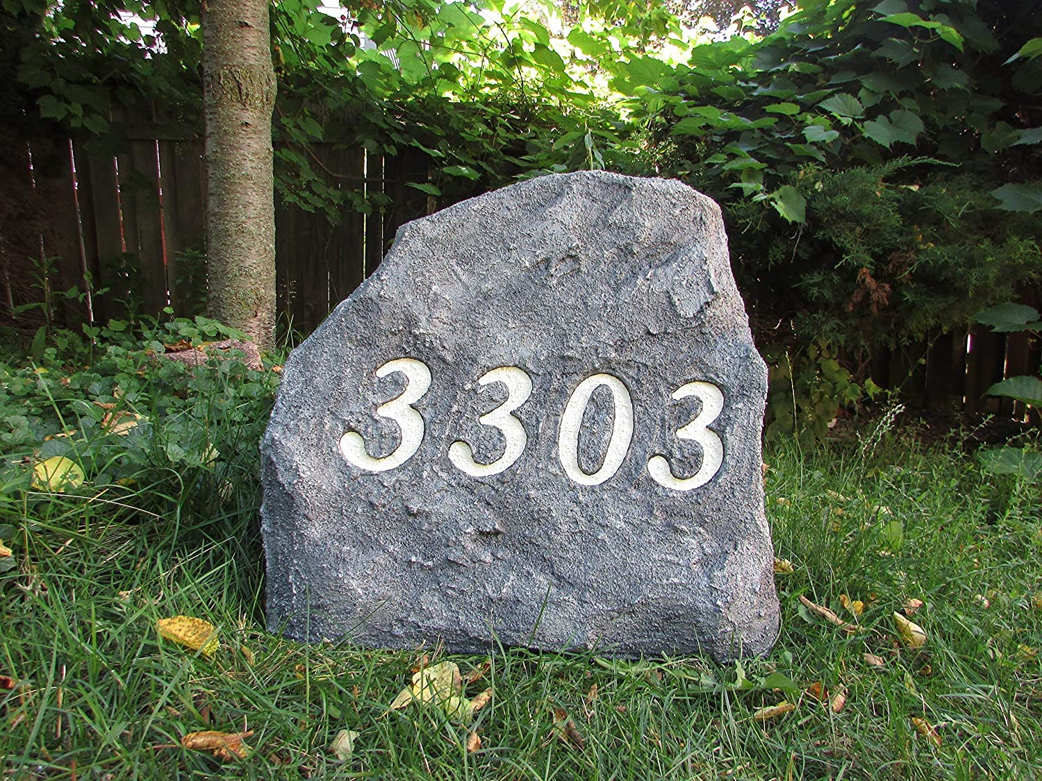 Address Stone with Tree Design Large 22 x 22 x 11 inches artificial