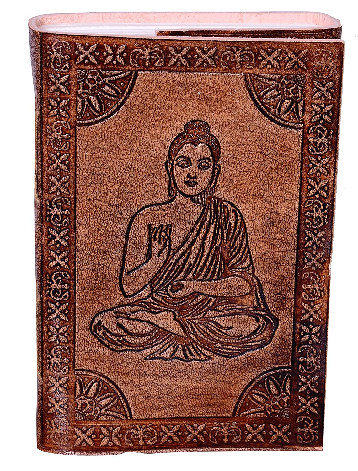 Travel Journal Notebook Meditating Buddha: Naturally Treated Paper Encased In Leather Cover For Corporate Gift Or Personal Memoir 10527 Purpledip Vintage Diary
