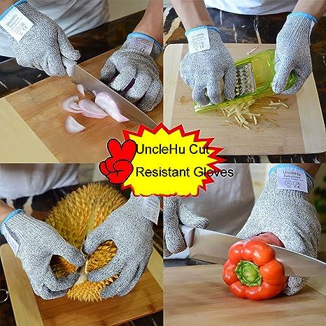 UncleHu guantes resistentes al corte nivel 5, mejor para utilizar con una mandolina, rallador, cortar con cuchillos y, certificación EN 388, 1 par., ...